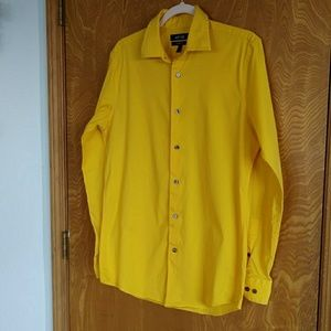 Bright Yellow Slim Fit Button Shirt. Size 15.5